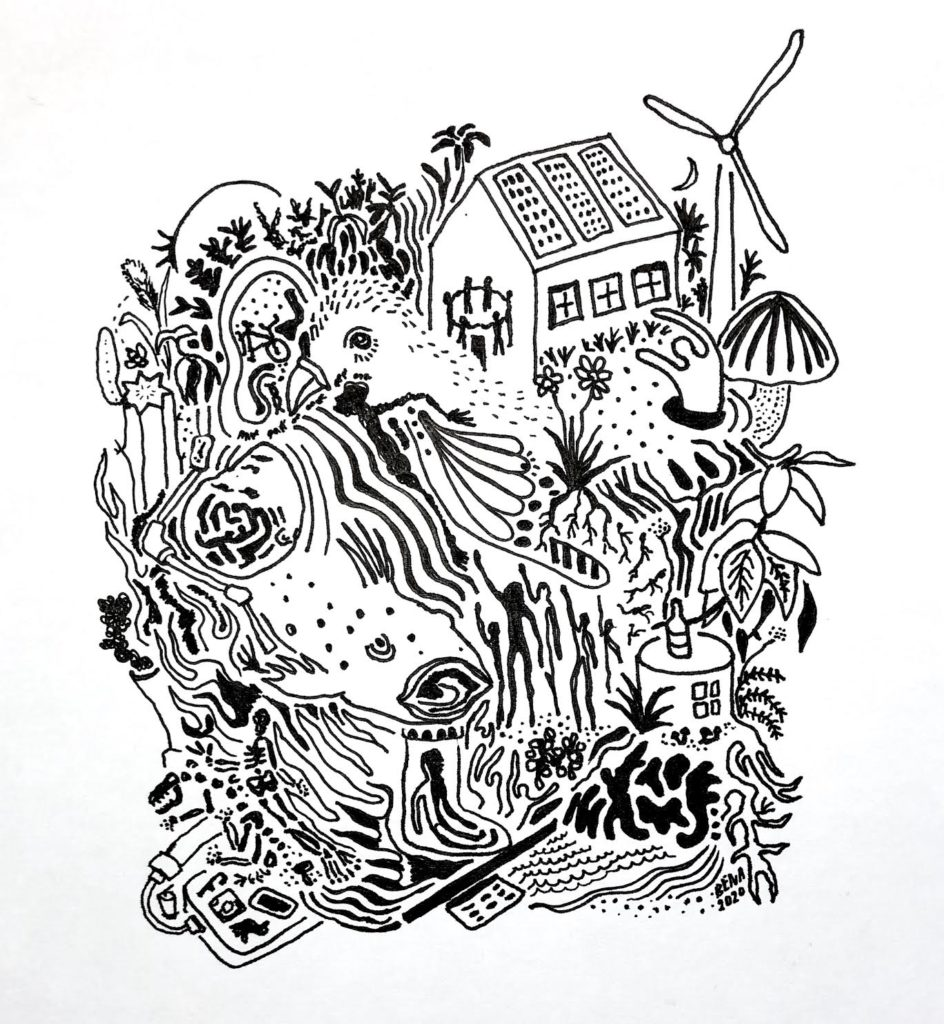 A chaotic line drawing featuring various realistic and abstract elements blending together including wind turbines, solar panels, mushrooms, plants, technology, flames and more.