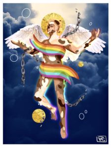 a digital collage shows an ambiguous deity-like figure with wings and a halo floating in an overcast sky
