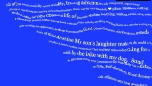 A string of white words grow across an indigo rectangle