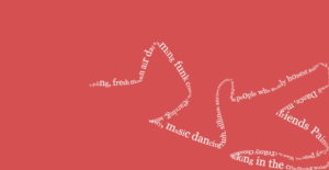 A string of white words grow in a serpent shape across a coral red background