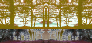 I. A digitally manipulated image of woods and trees on the bank of a body of water in yellows, grey/blacks and maroons.