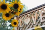 "Sunflowers grow at the entrance to a garden with the word ""love"" carved overhead."