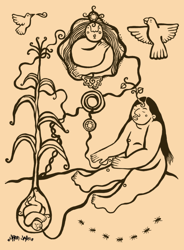 a human with long hair connected by an umbilical cord to another human, surrounded by a corn stalk, the sun, a sky being, a star, a hummingbird and a parrot.